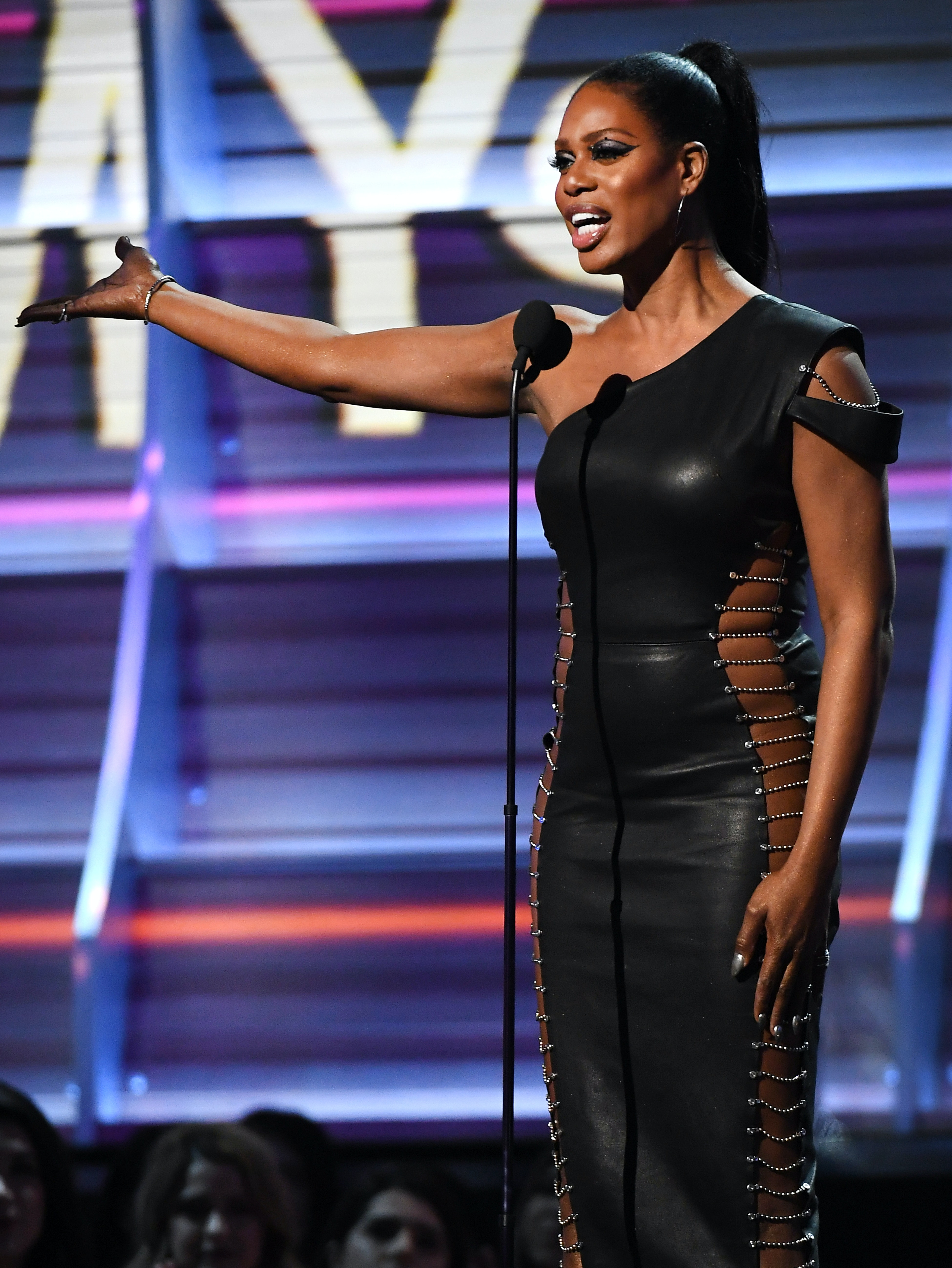 LOS ANGELES, CA - FEBRUARY 12: Actor Laverne Cox speaks onstage during The 59th GRAMMY Awards at STAPLES Center on February 12, 2017 in Los Angeles, California.