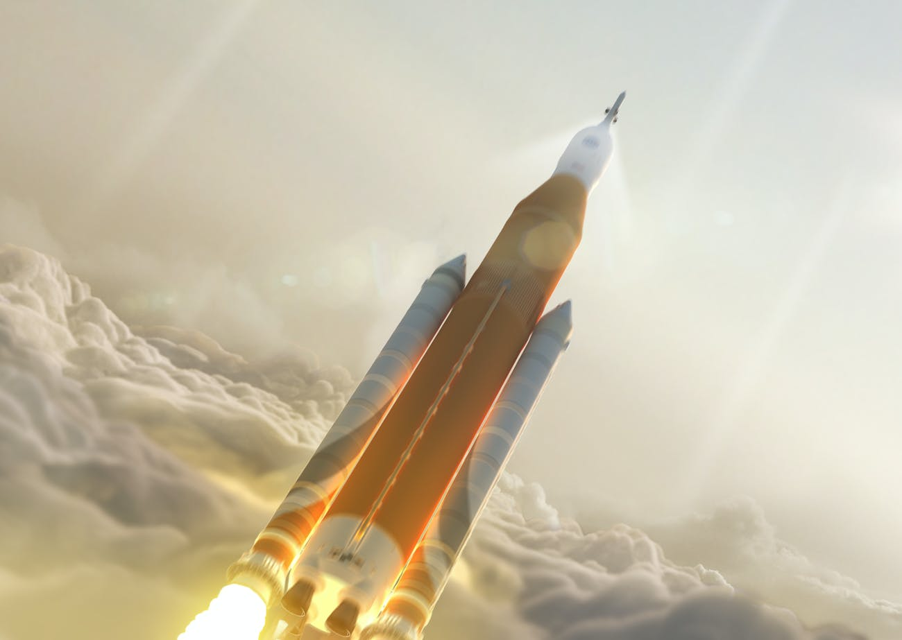 Artist's rendering of a Block 1 Space Launch System launch.