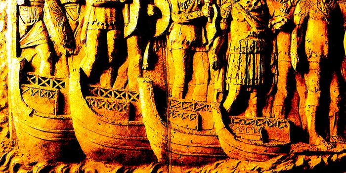 A relief of a Roman bridge of boats by Cichorius
