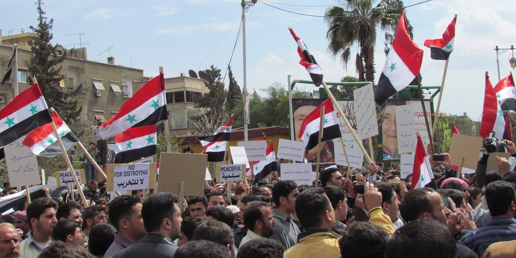 An anti-government protest in Douma in 2011.