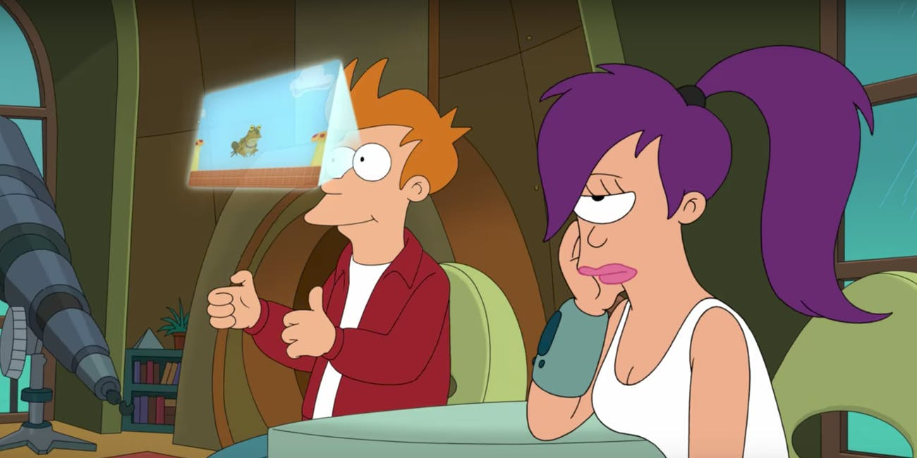 That's you and your girlfriend when 'Futurama: Worlds of Tomorrow' comes out, apparently.