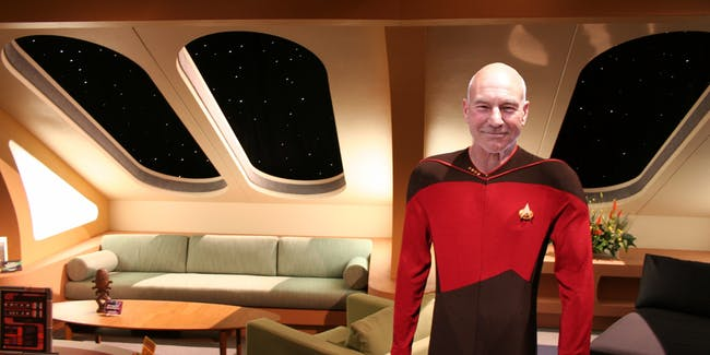 Enterprise-D crew quarters with captain Jean-Luc Picard