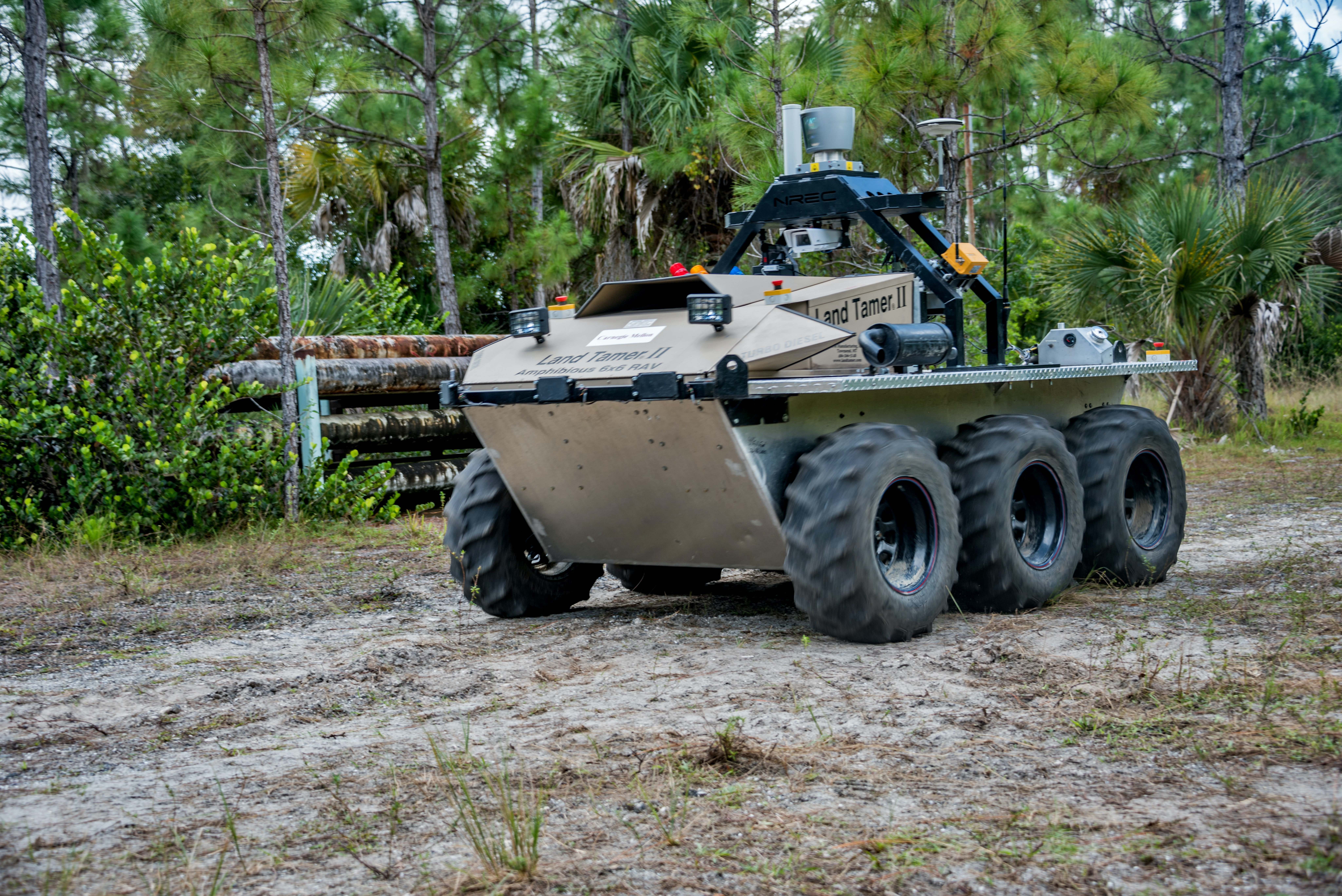 """A ground vehicle being developed by TARDEC's """"Extending the Reach of the Warfighter through Robotics"""" project."""