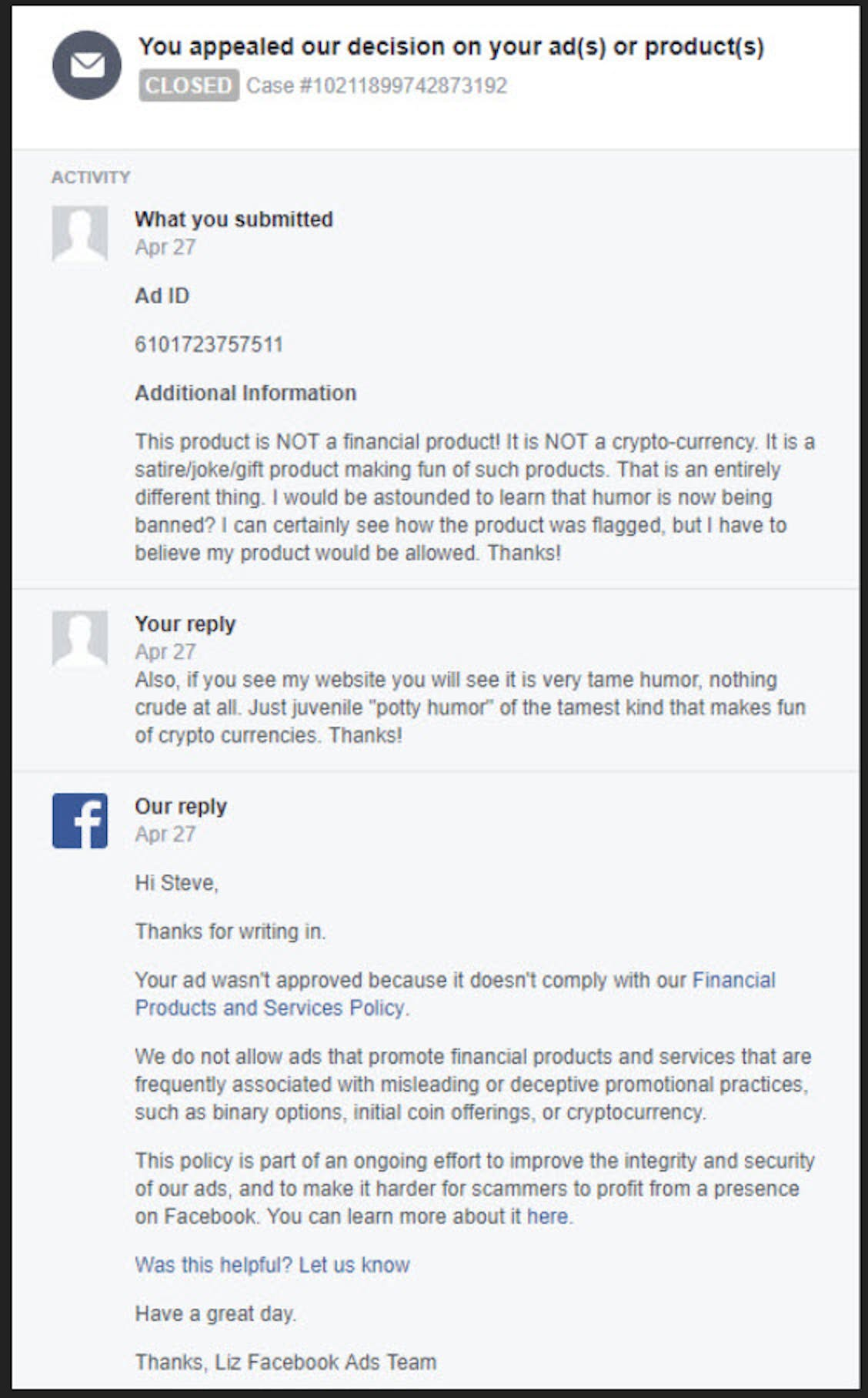 The first exchange between Steve and the Facebook team.