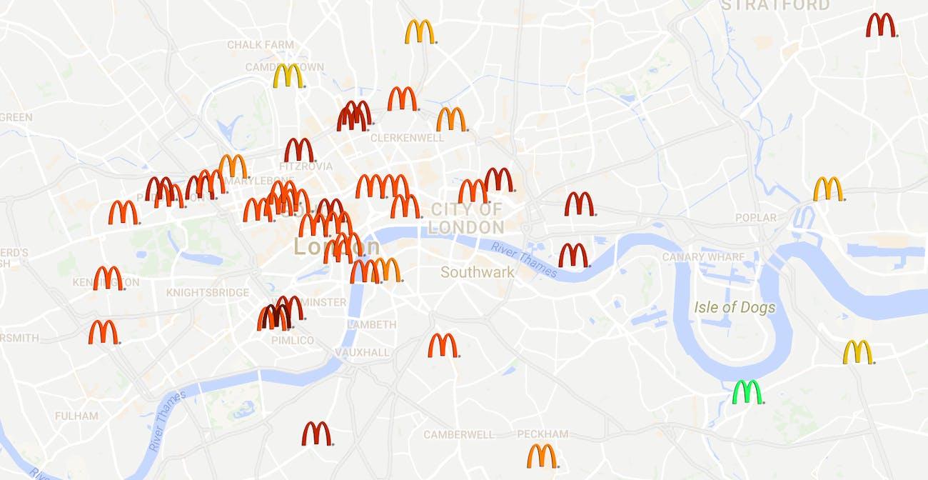 The McDonalds Big Mac Map tracks Big Mac prices through the city of London and around England.