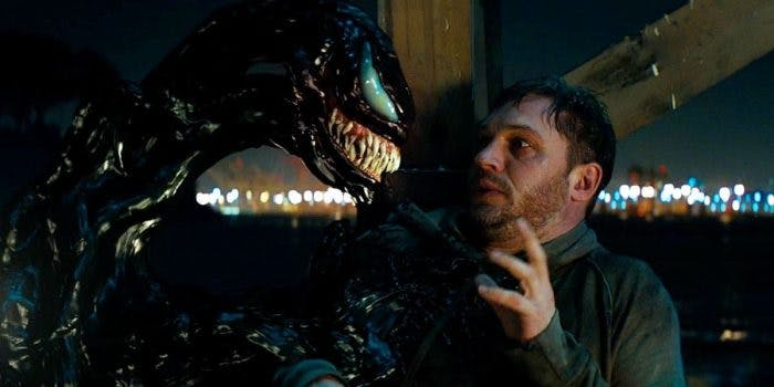 Venom converses with Eddie Brock in the 'Venom' movie.