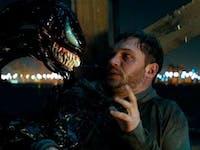 Venom converses with Eddie Brock in the 'Venom' movie.