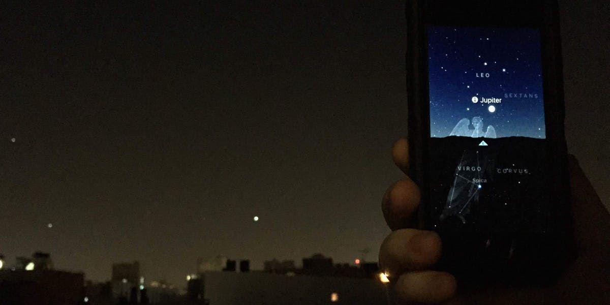 Is it a star? Is it Jupiter? Nope, it's a plane taking off from LaGuardia.