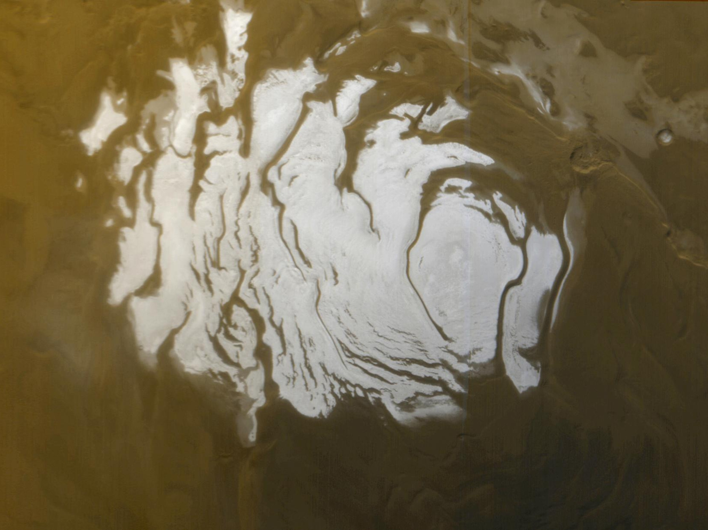 mars south pole ice water
