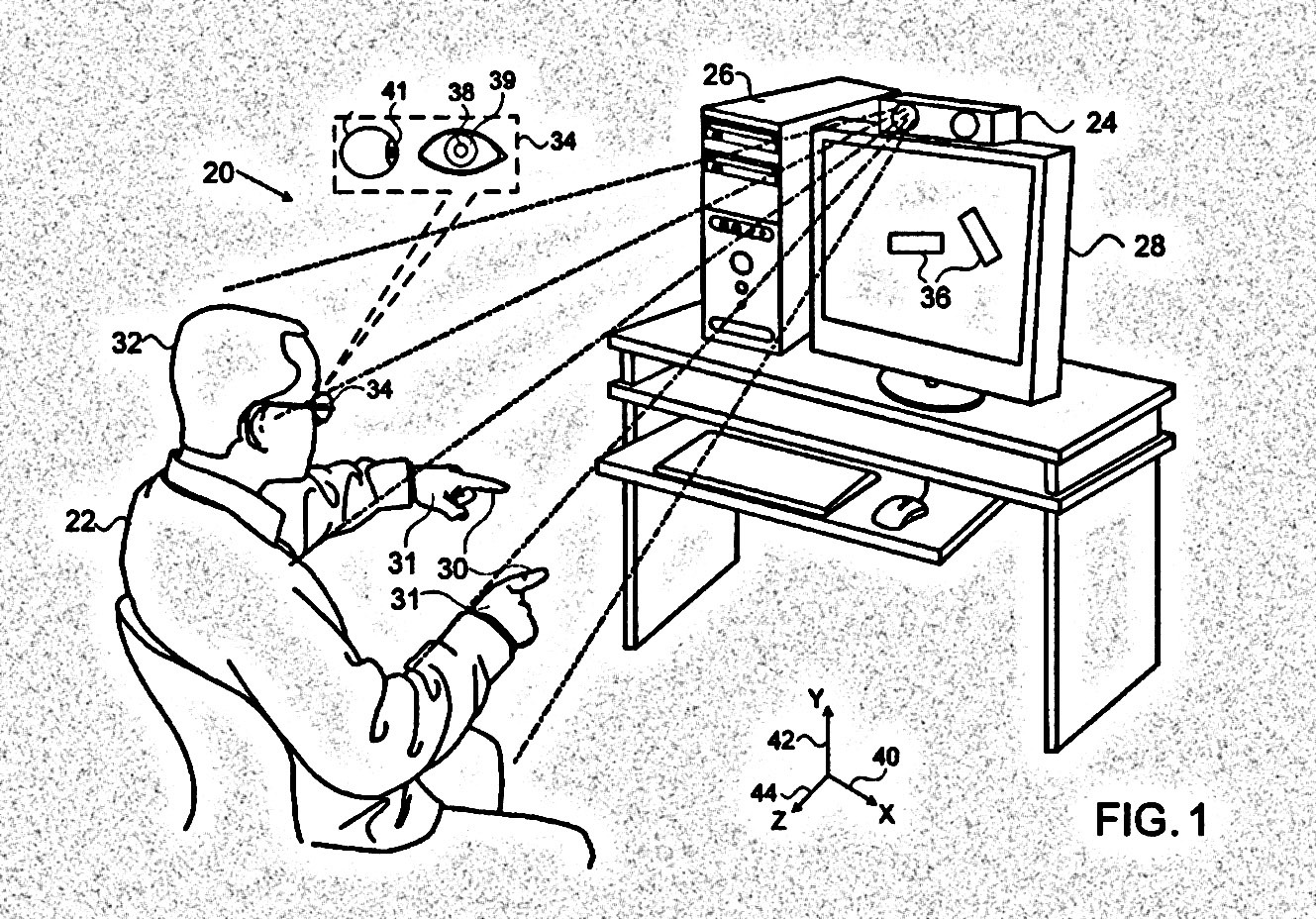 A patent illustration showcases a user controlling his computer from a distance.