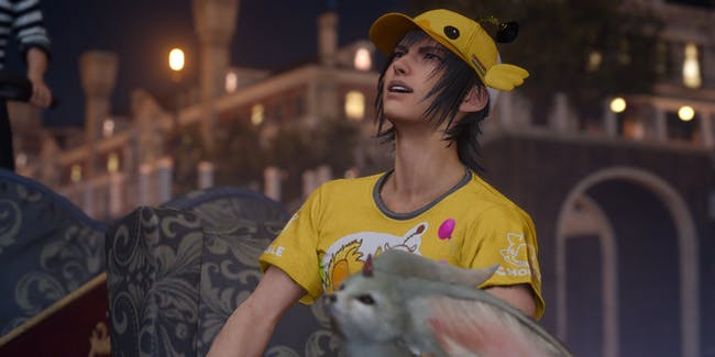 """At some point, somebody thought, """"Hey, let's put Noctis in this ridiculous chocobo outfit."""""""