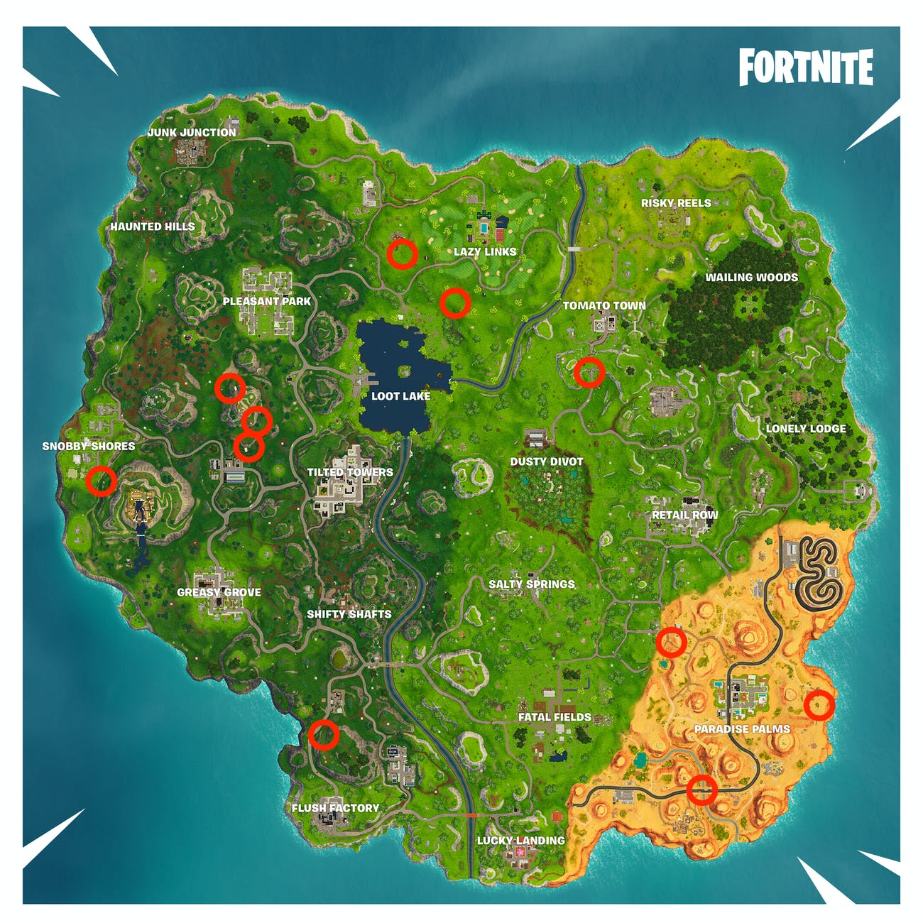 Here are 11 flaming hoops that 'Fortnite' players can jump through in Season 5, Week 4.