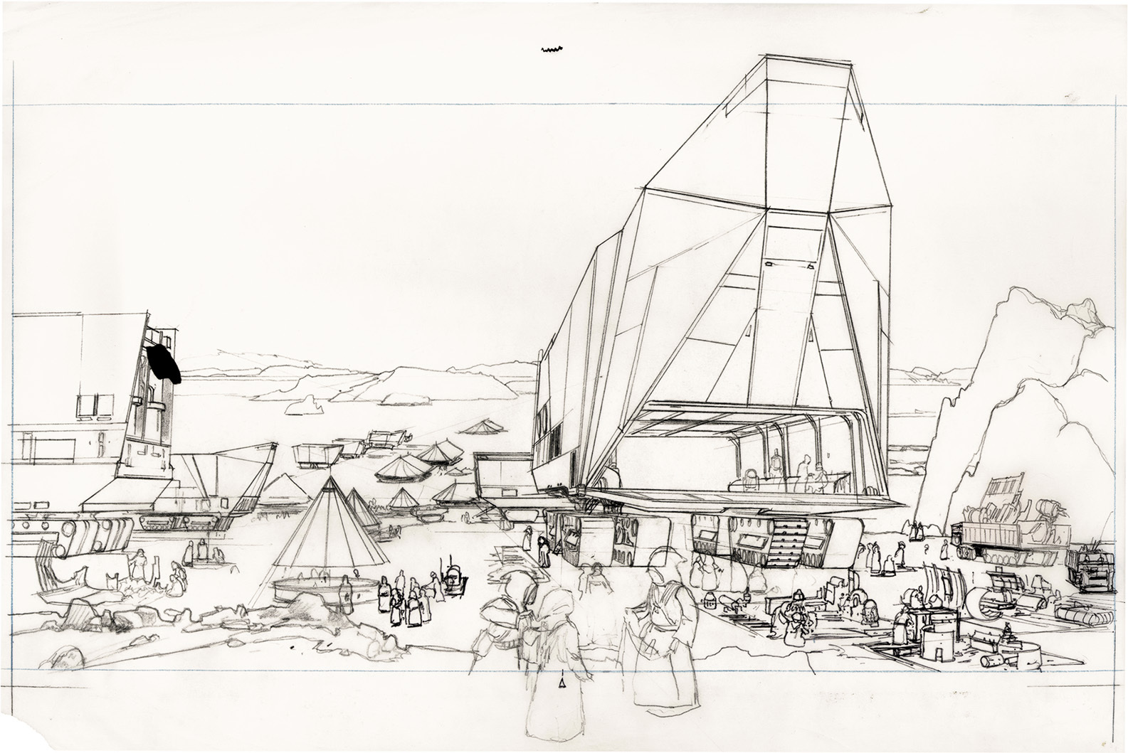 "McQuarrie's rough drawing for an illustration called ""Tatooine — Jawa Swap Meet""."