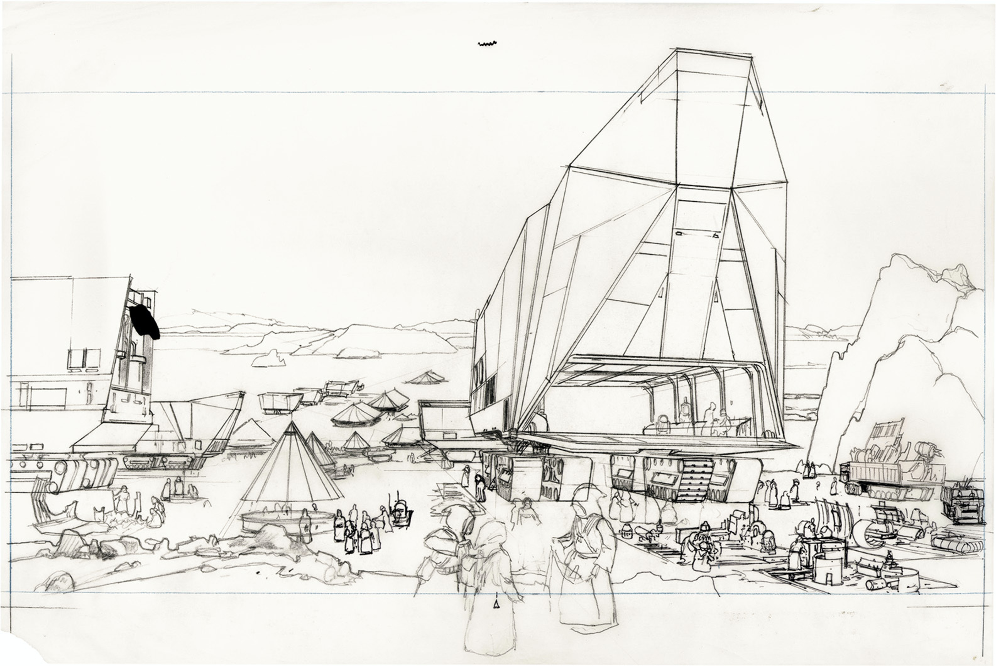 """McQuarrie's rough drawing for an illustration called """"Tatooine — Jawa Swap Meet""""."""