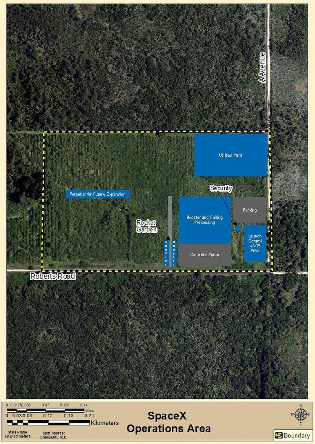 Map detailing the layout of the new facilities