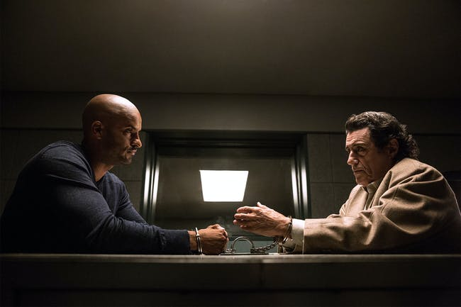 Ricky Whittle and Ian McShane in 'American Gods' episode 5