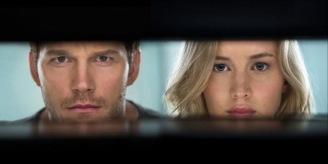 Passengers movie poster with Jennifer Lawrence and Chris Pratt