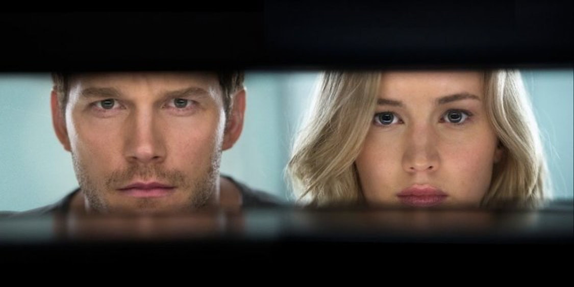 Passengers movie poster with Jennifer Lawrence and Chris Pratt