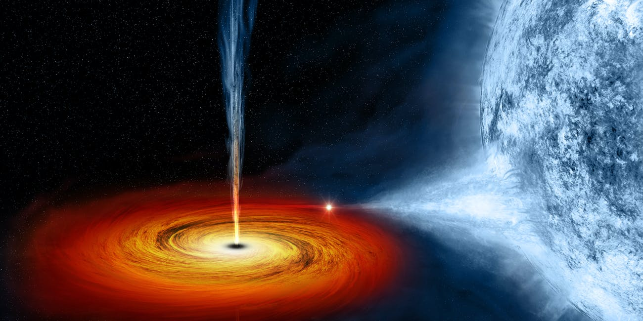 An artist's illustration of a black hole consuming cosmic material.