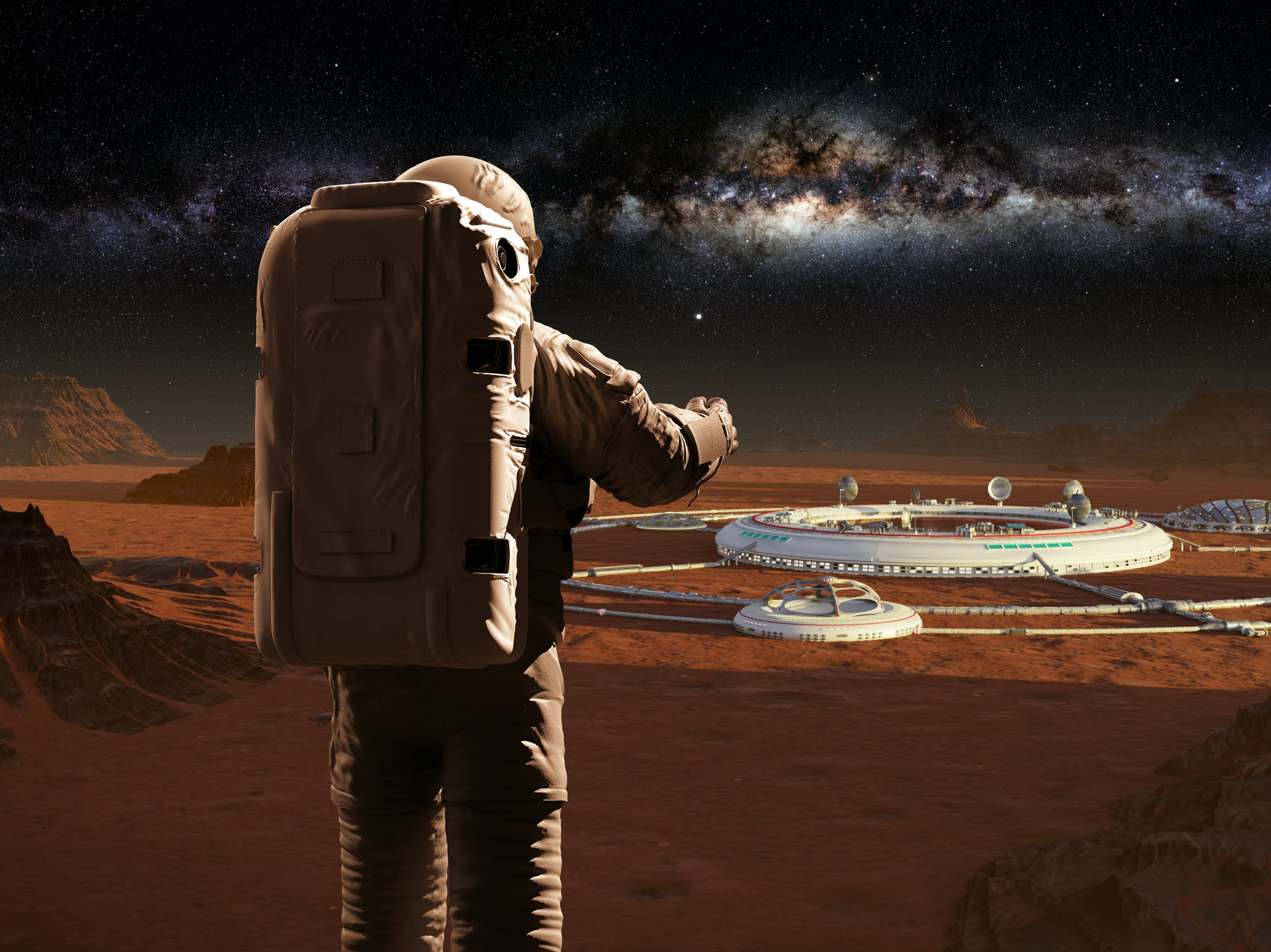 astronaut on planet Mars, looking at a martian city (3d science illustration)