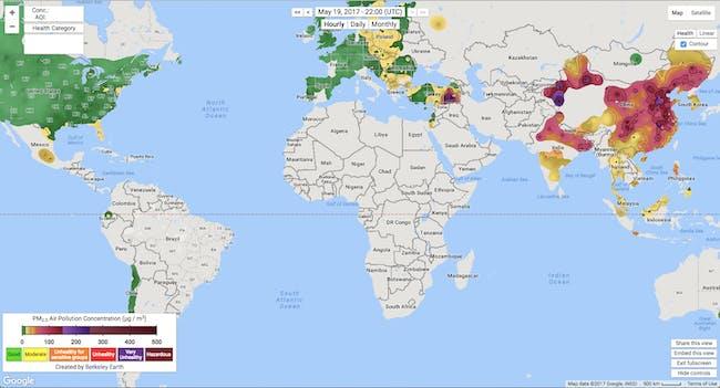 air pollution map berkeley earth PM2.5 world