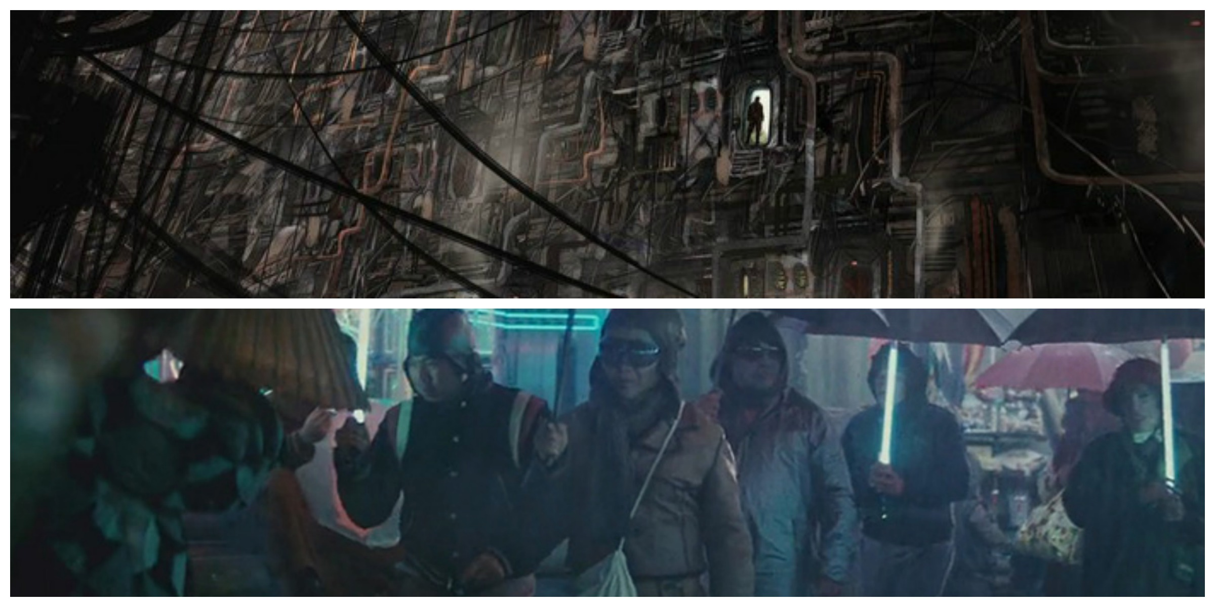 ABOVE: 'Rogue One' concept art for Ring of Kafrene. BELOW: 'Blade Runner' marketplace.