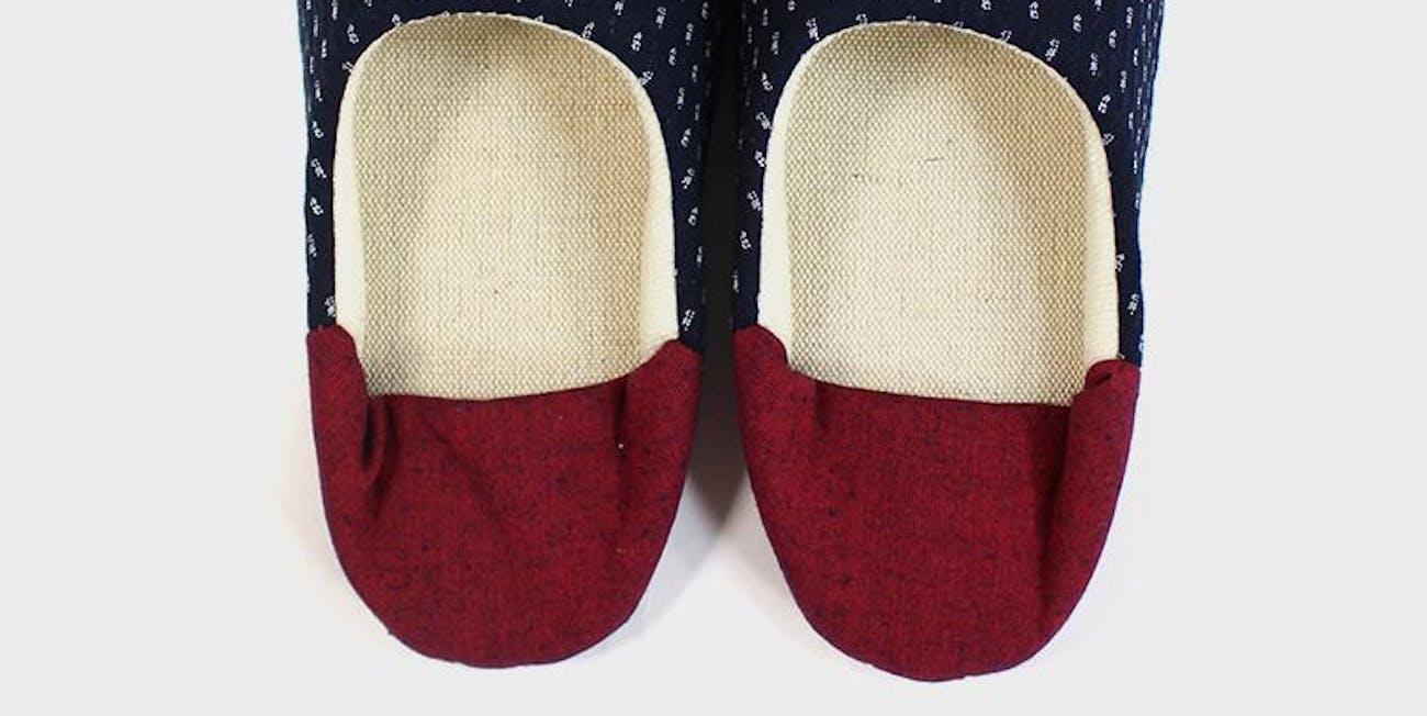 Babouche, Indigo Dash Kasuri with Red Heel