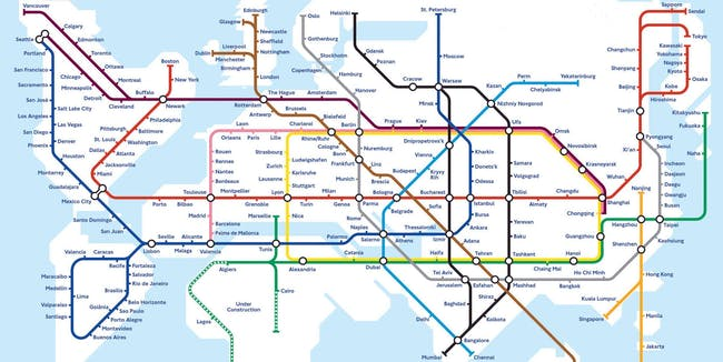 An artist's impression of a global metro network.