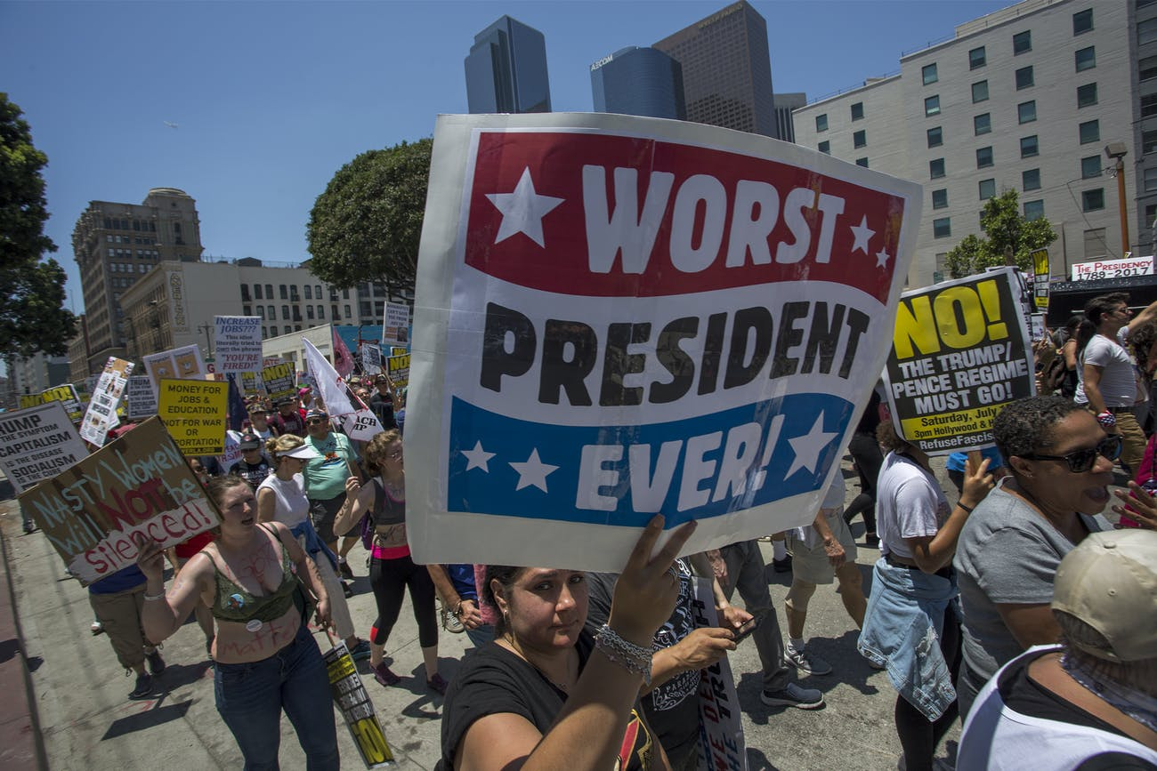 LOS ANGELES, CA - JULY 2: People participate in the Impeachment March on July 2, 2017 in Los Angeles, California. Impeachment March protests across the nation are calling for the impeachment of U.S. President Donald Trump. (Photo by David McNew/Getty Images)