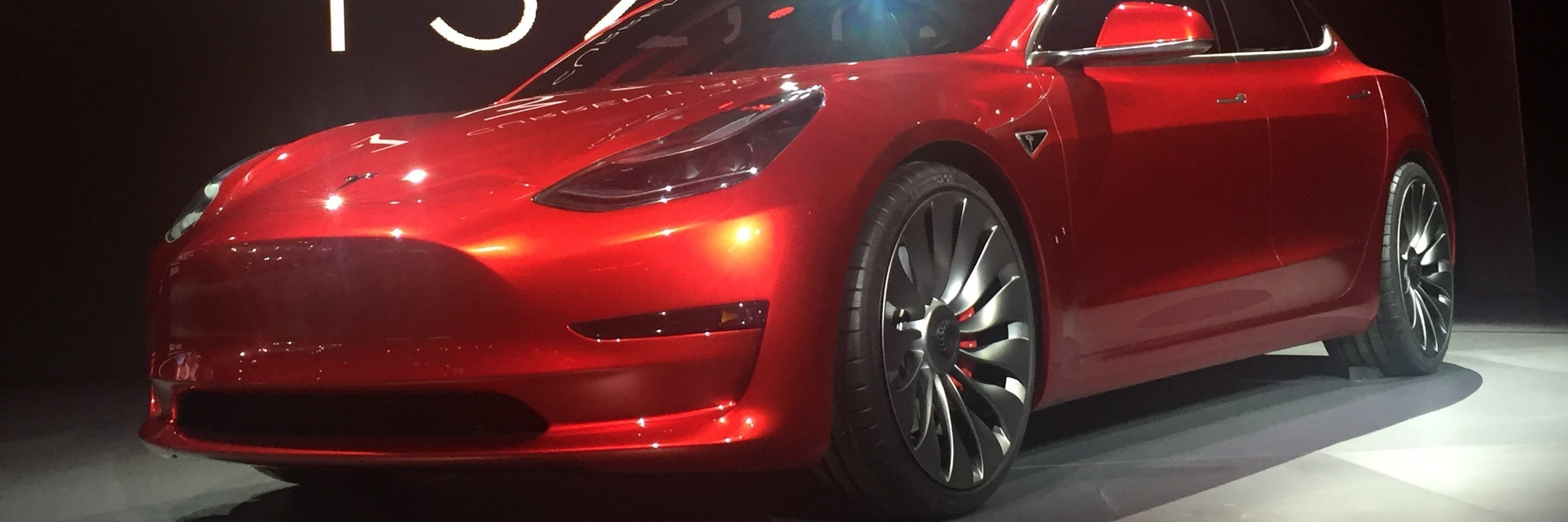 Candy Red Model 3 with the new nose