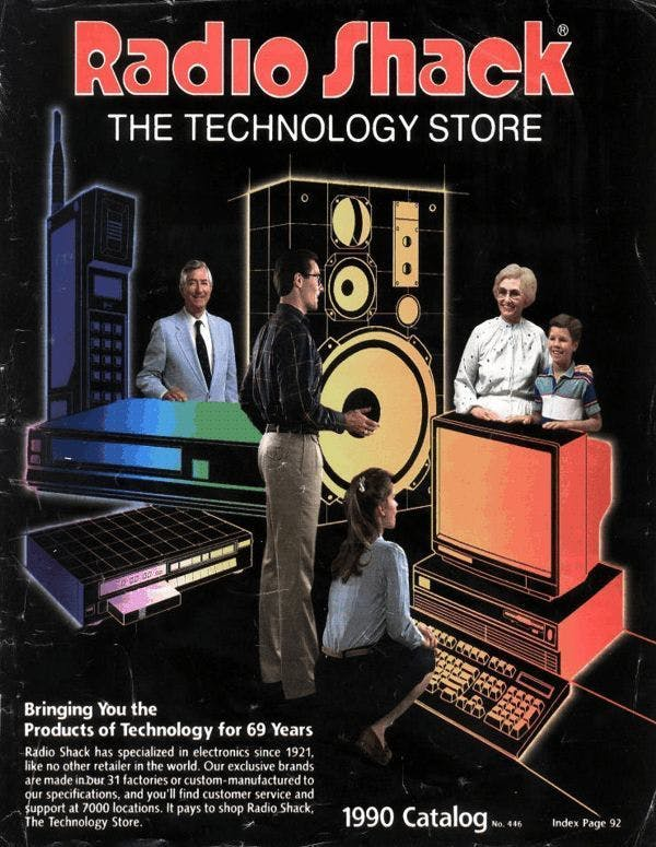 A thriving, extremely 1990 issue of a Radio Shack catalog, while the business still thrived on computer and circuit board sales.