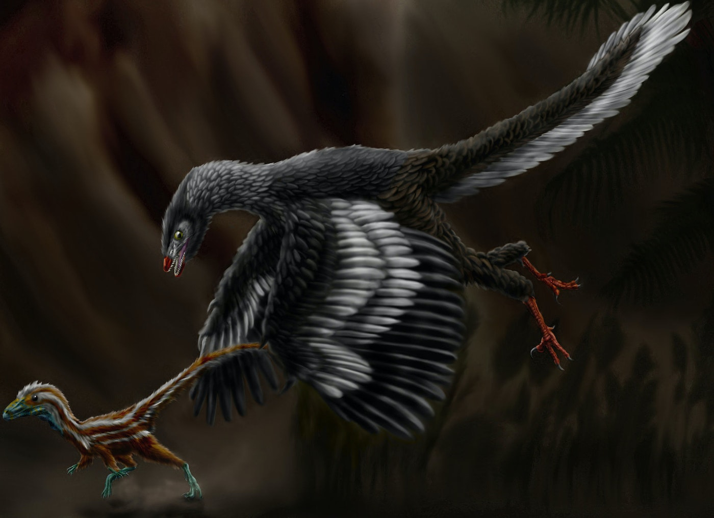 'Archaeopteryx lithographica' hunts a juvenile 'Compsognathus longipes' in the Late Jurassic epoch. Illustration by Durbed.