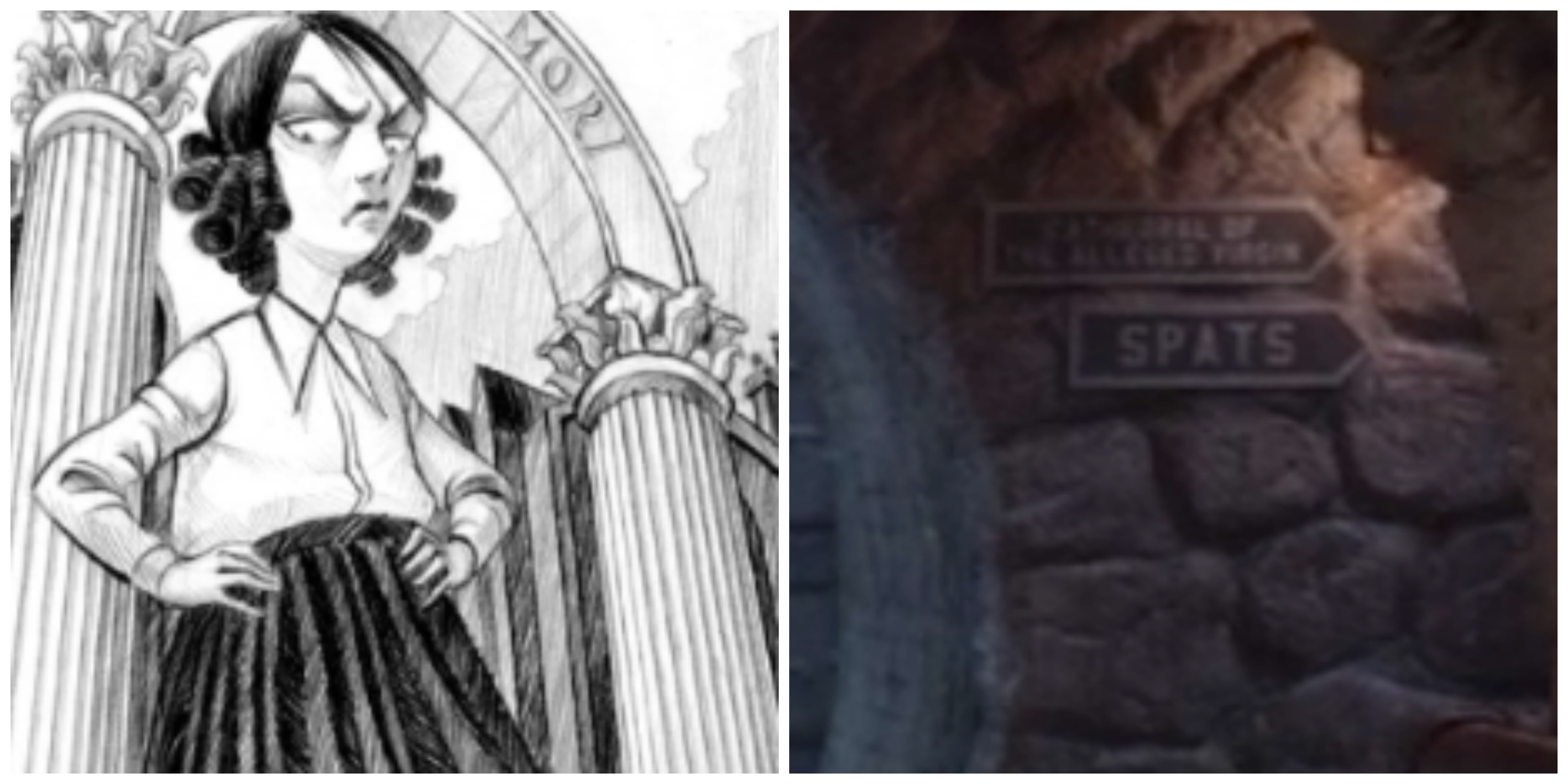 LEFT: Carmelita Spats as drawn by Brett Helquist. Right: Her name in the tunnels.