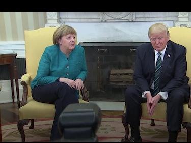 Trump Awkwardly Refused to Shake Angela Merkel's Hand at a Photo Op