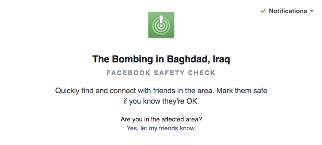 Facebook Safety Check may see More use After Baghdad   Inverse