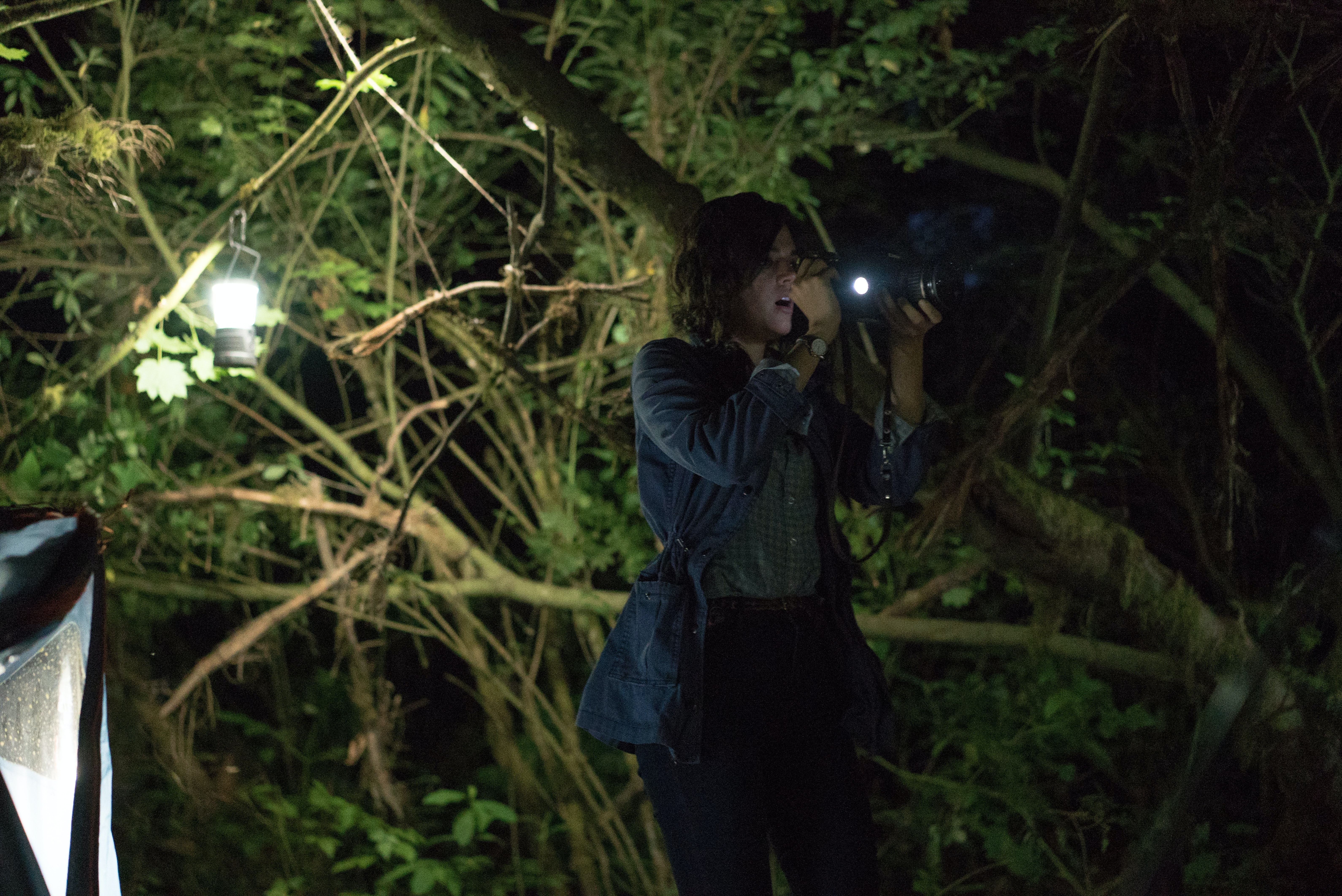 """Callie Hernandez as """"Lisa"""" in 'Blair Witch.' Callie told Inverse in a separate interview that Adam liked to abuse his """"scare horns,"""" to the horror/delight of the cast and crew."""