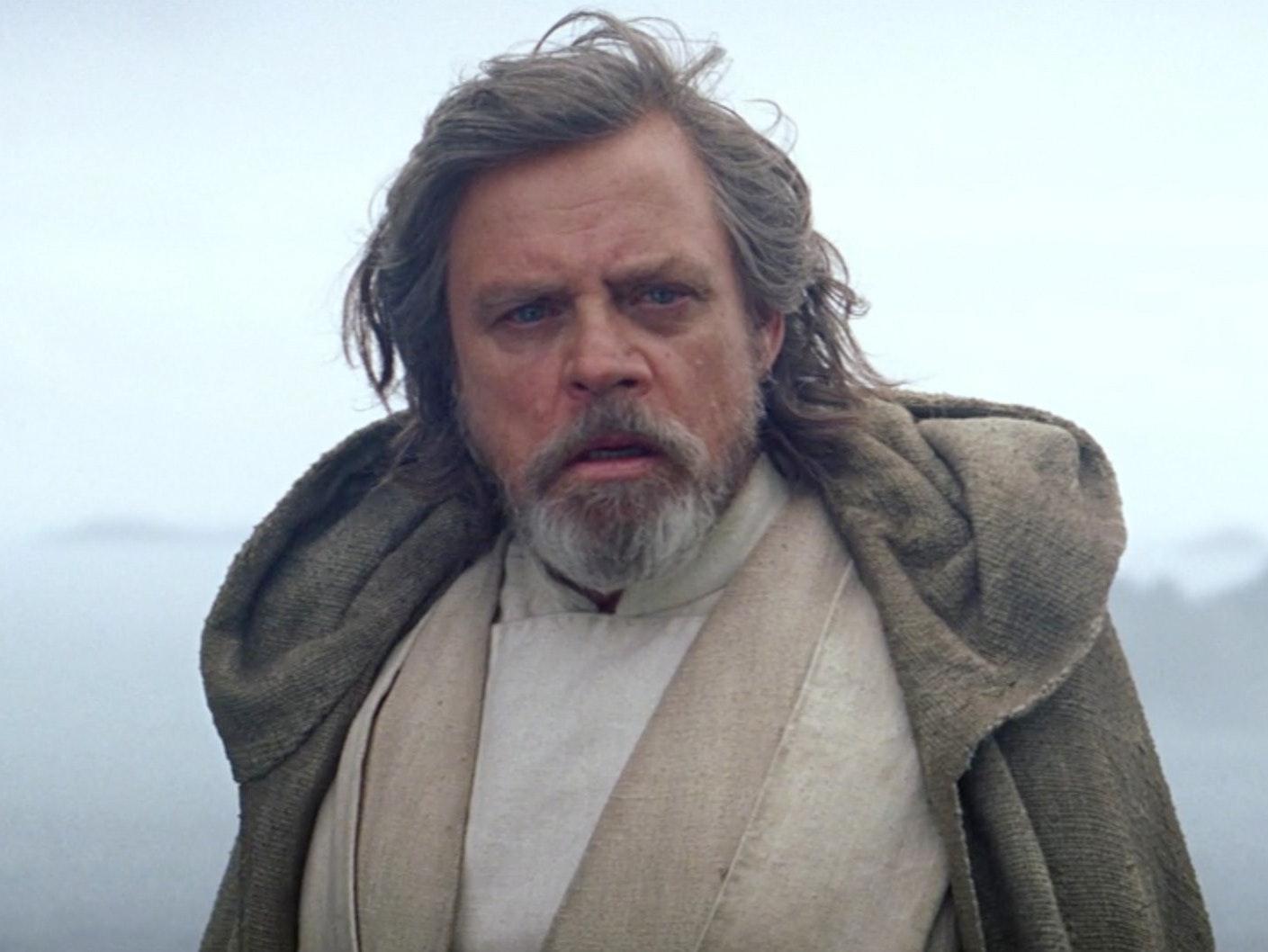 Luke Skywalker at the end of 'The Force Awakens'