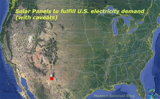 Heres Elon Musks Plan To Power The US On Solar Energy Inverse - Us map miles