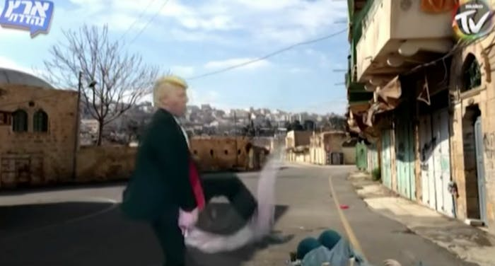 An unfunny portrayal of Trump in Israel.