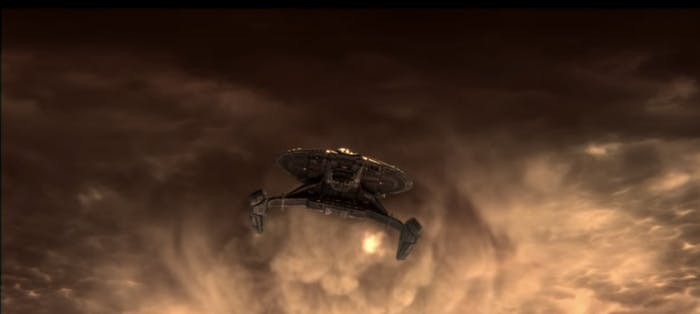 The USS Shenzhou emerging from the clouds in the 'Star Trek: Discovery' trailer.