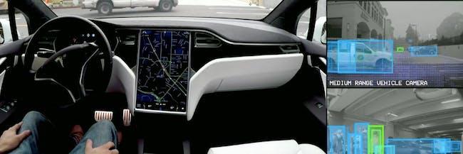 An autonomously-driven Tesla Model 3 does a test run.
