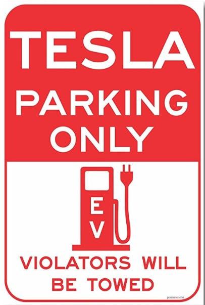 Tesla Parking Only Sign