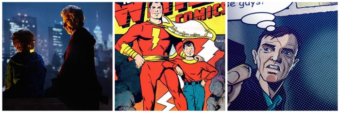 "LEFT: The Doctor with a young Grant. CENTER: Shazam! RIGHT: the Marvel-style opening of ""Doctor Mysterio"""