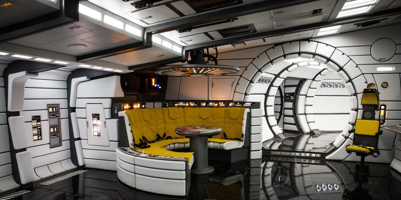 Inside the Millennium Falcon in 'Solo: A Star Wars Story'.