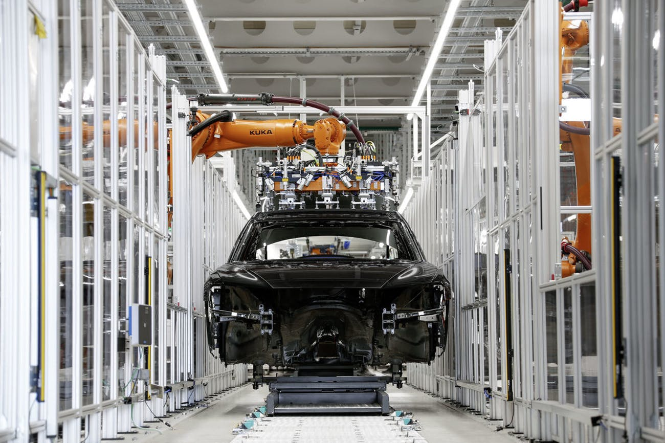 The shell of the Audi A8, before any of the fancy tech is installed.