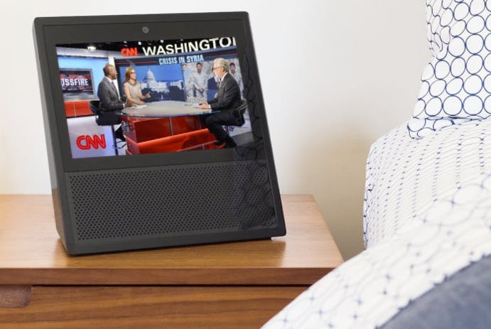 """Cable news! In bed! This seems not-ideal, but it is no possible with the Echo Show's """"flash briefings."""""""