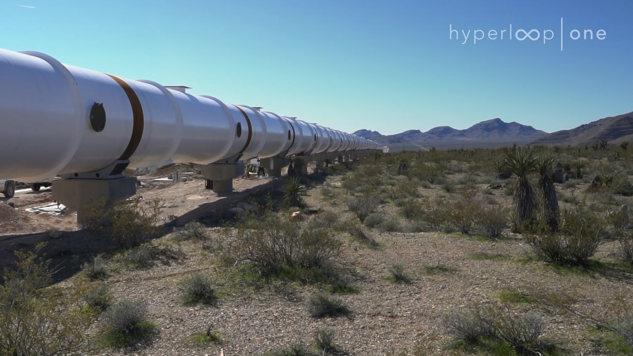 Hyperloop One's test track in the Nevada desert.