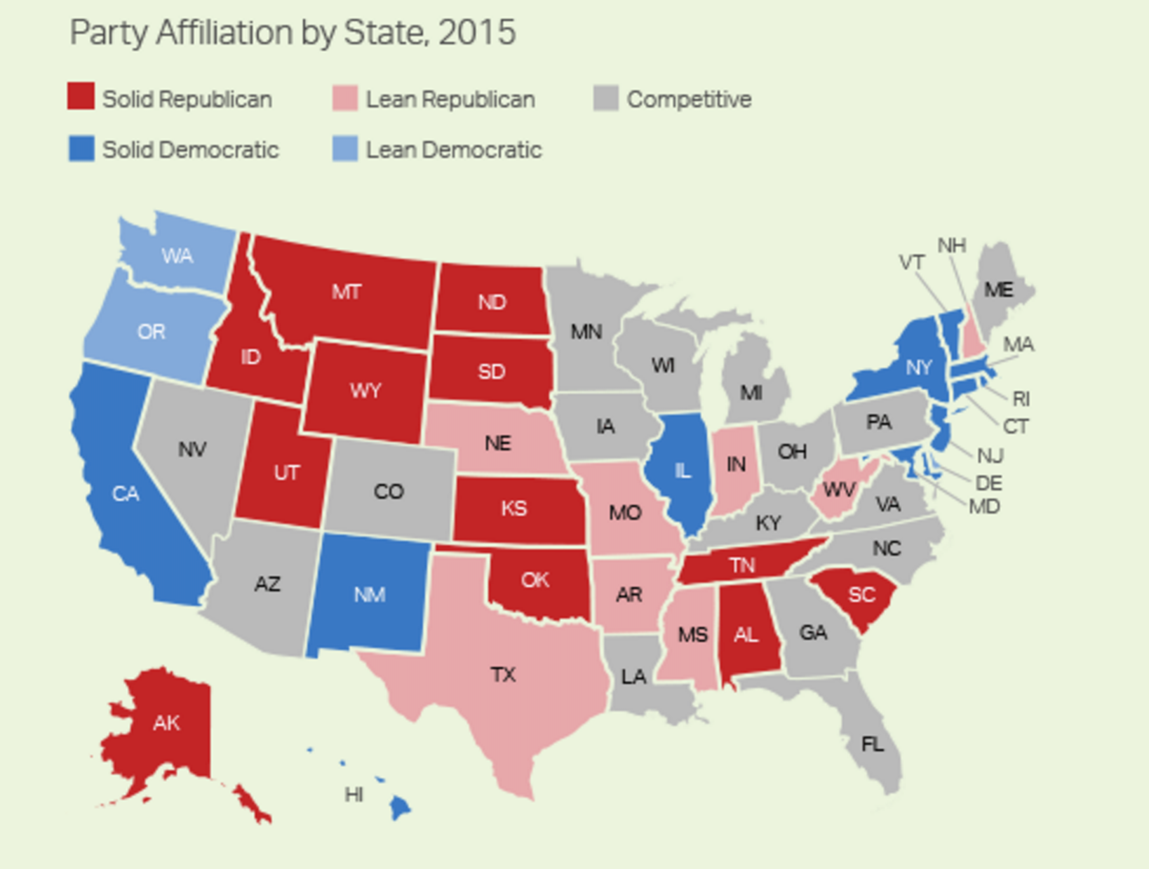 Party affiliation by state.