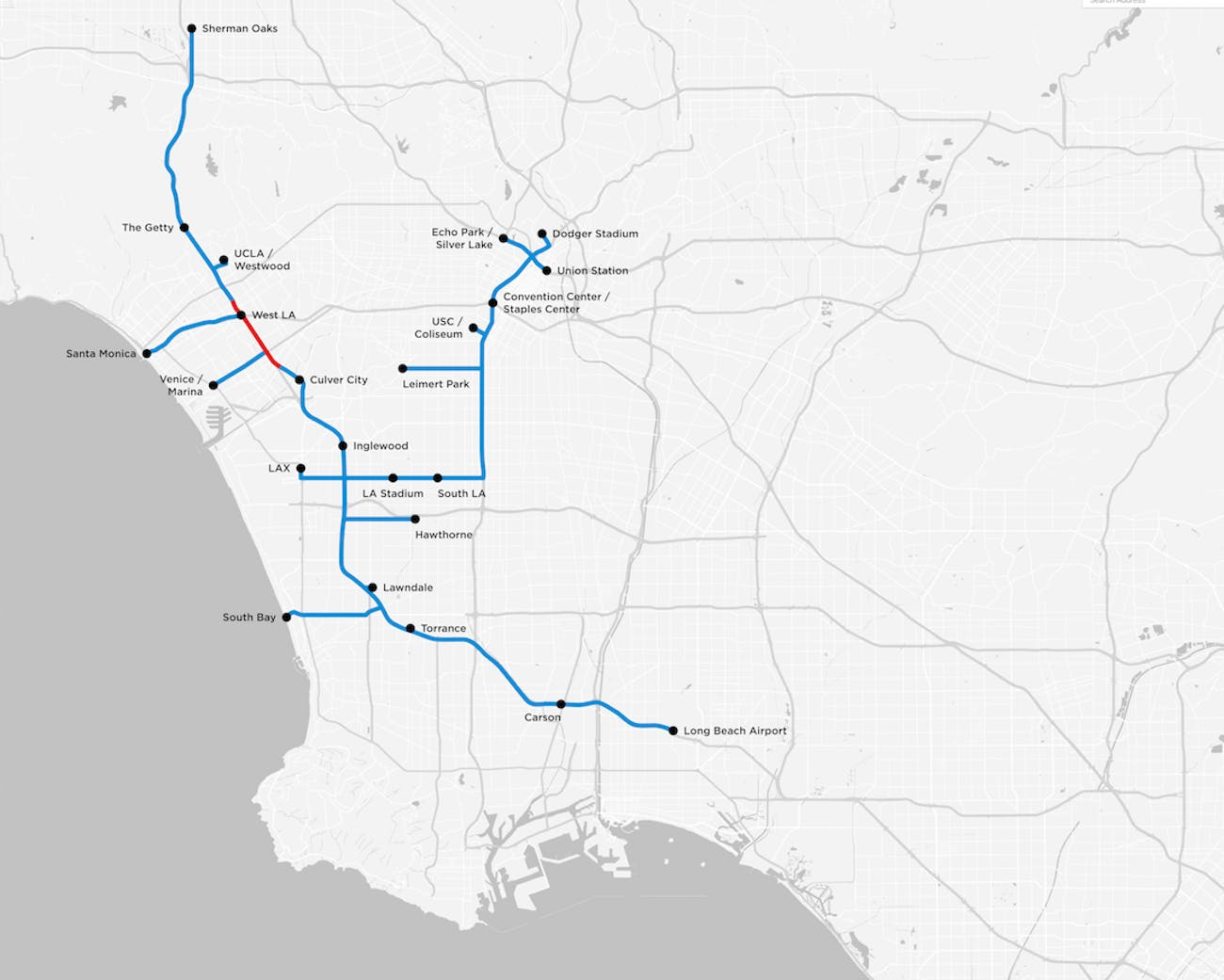 the boring company tunnel map los angeles