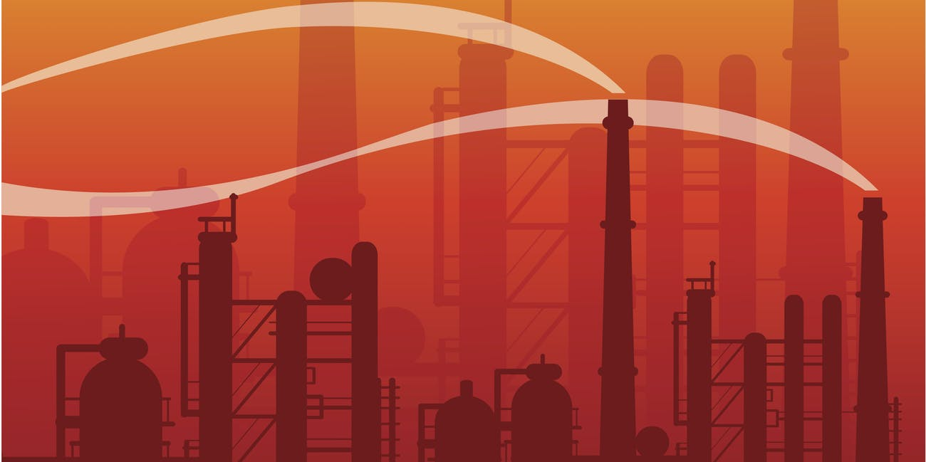 industrial landscape in smog